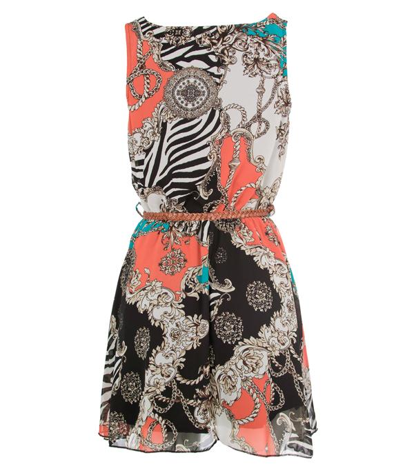 New-Womens-Chain-Print-Chiffon-Party-Dress-Size-8-10-12-14