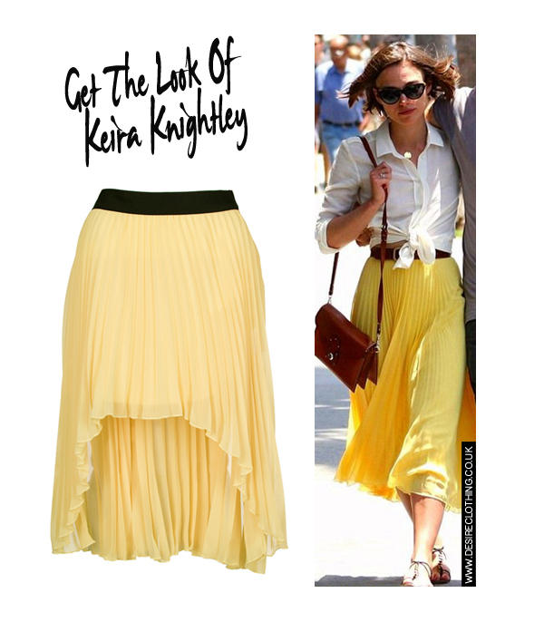 Lemon Pleated Chiffon Mixi Skirt