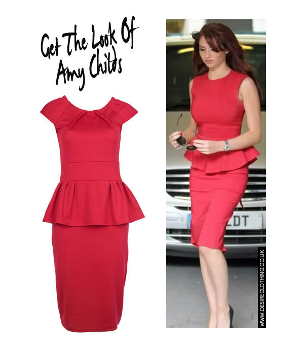 Red Peplum Pencil Dress