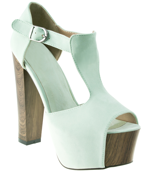 New Ladies Mint Soft Suede T-Bar Wooden Block Heel Peeptoe Shoes 3-8 Enlarged Preview
