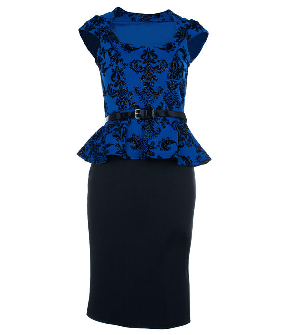 Blue Belted Peplum Dress