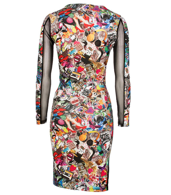 Black Multi Cartoon Dress