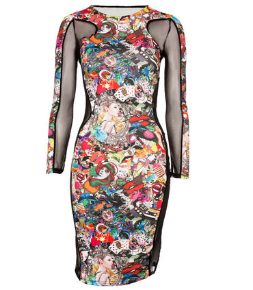 Black Multi Cartoon Dress Preview