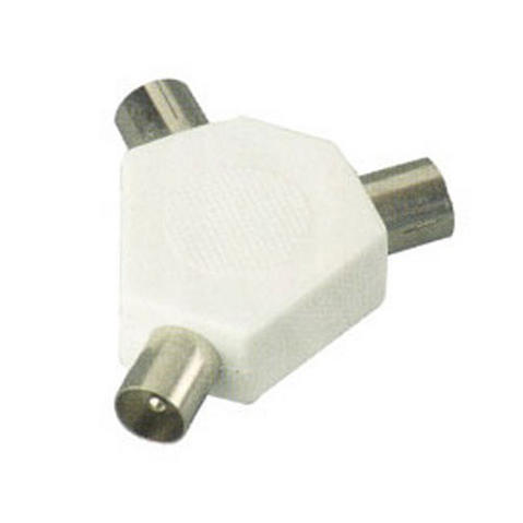 View Item RF Coaxial TV Television Aerial 3 Way Splitter Adapter