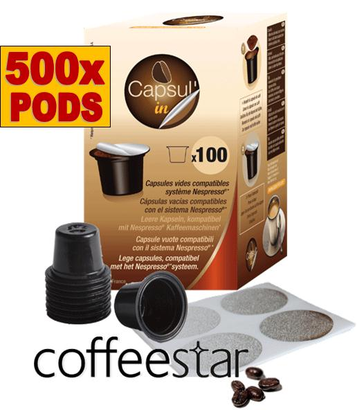 500x empty capsul 39 in nespresso compatible capsule pods bulk pack pixie essenza. Black Bedroom Furniture Sets. Home Design Ideas