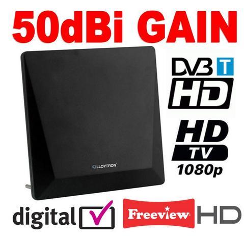 View Item Active Digital Indoor TV Antenna Aerial 50dBi Matt Black Ideal for Freeview HD