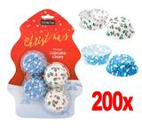 """200 x Christmas Xmas Cup Cake Holders - 2 x Designs """"Christmas"""" & """"Let It Snow"""""""