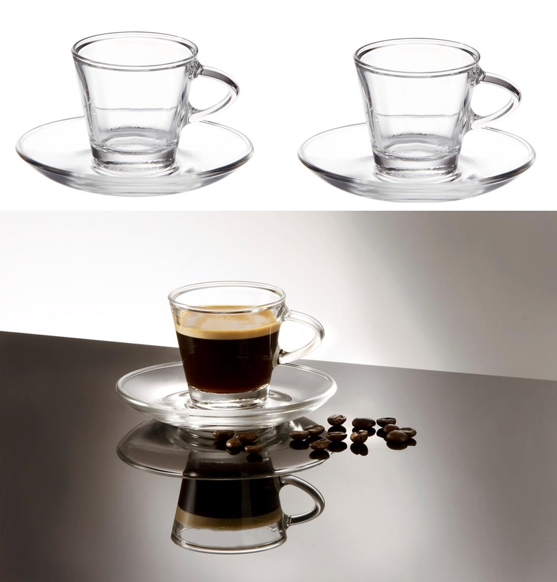 Glass espresso coffee cups uk - Sentinel 2 Clear Small Glass Espresso Coffee Cups Saucers 80ml Set Of 2 Gift Boxed