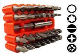 33 Piece Screwdriver Security Bit Tool Holder with range of Torx Star Hex Pieces