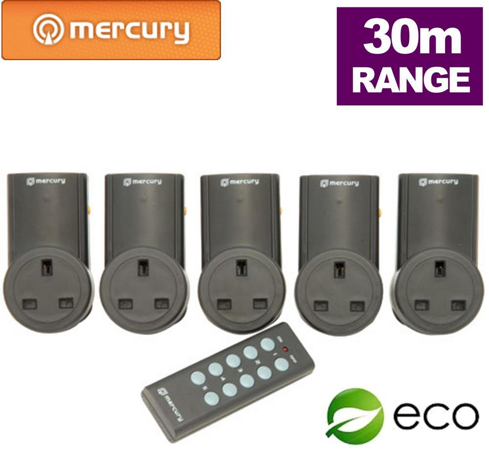 5 x Remote Control UK Mains Sockets & Standby Shut Off - 30M Range UK