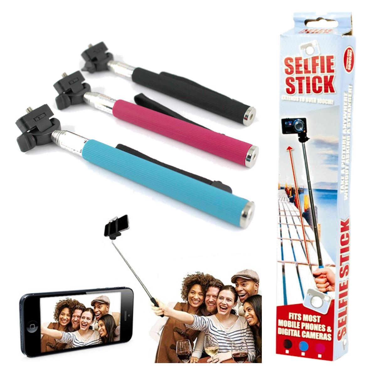monopod selfie stick telescopic mobile phone iphone camera holder black ebay. Black Bedroom Furniture Sets. Home Design Ideas