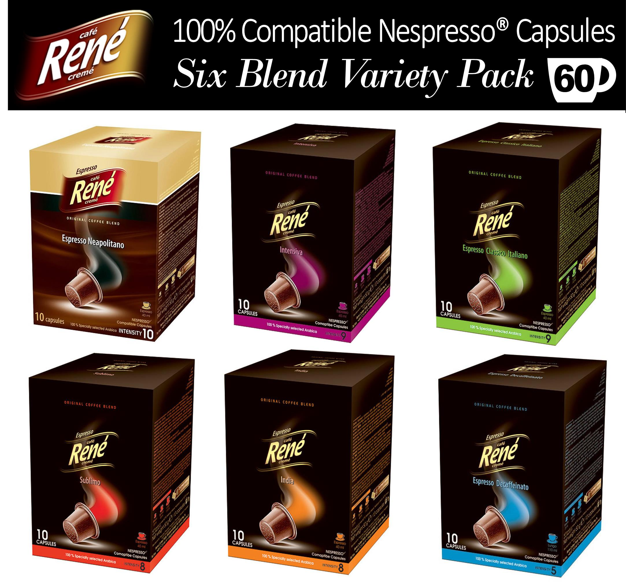 60x nespresso compatible coffee capsules pods six favourite blends variety pack ebay. Black Bedroom Furniture Sets. Home Design Ideas