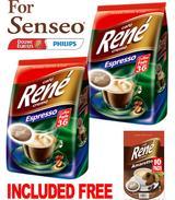 Philips Senseo 72 x Cafe Rene Cremé Espresso Roast Coffee Pads Pods Bags