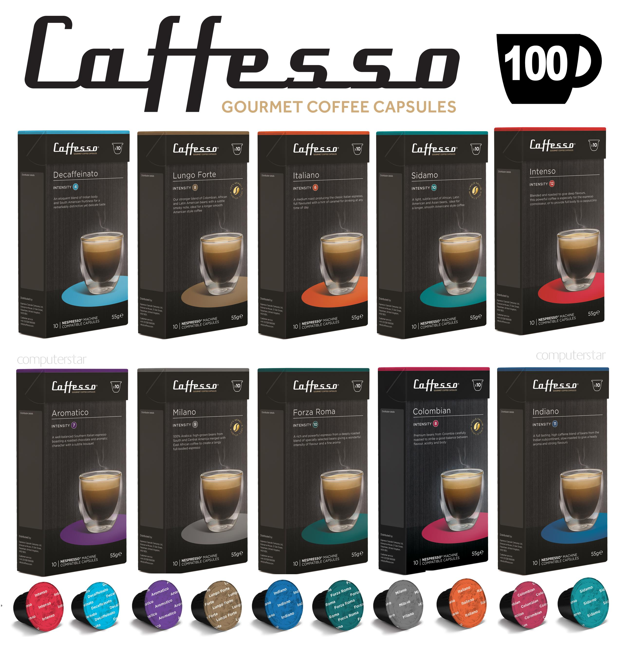 100 x caffesso nespresso compatible coffee capsules 10 blend selection pack ebay. Black Bedroom Furniture Sets. Home Design Ideas