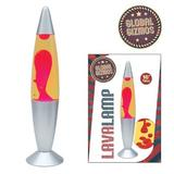 """Global Gizmos 16"""" Retro Lava Lamp Yellow Liquid Red Wax Adds Light & Ambience"""