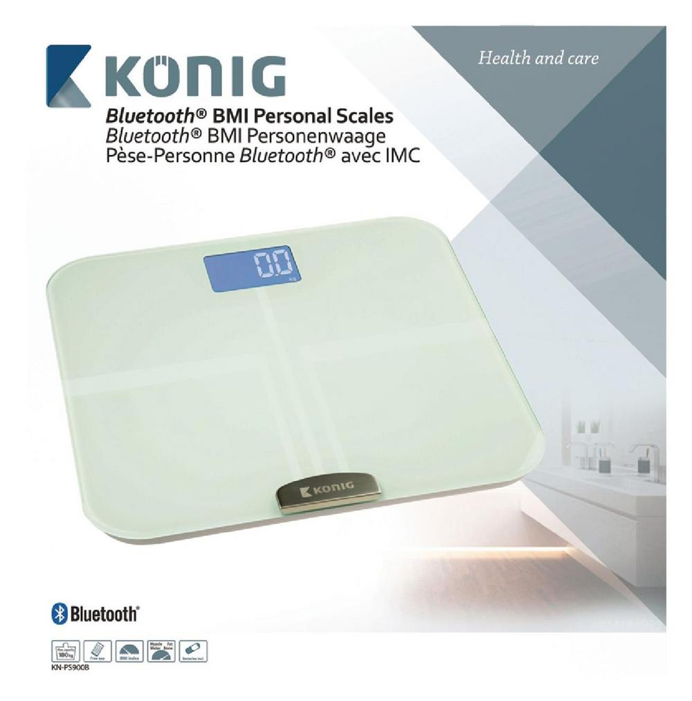 Konig Smart Bluetooth 4.0 Health Scale BMI BMR Weight Fat Water Measuring