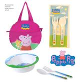 PEPPA PIG Canvas Lunch Bag & Meal Set with Bowl Spoon & Fork Official Licensed