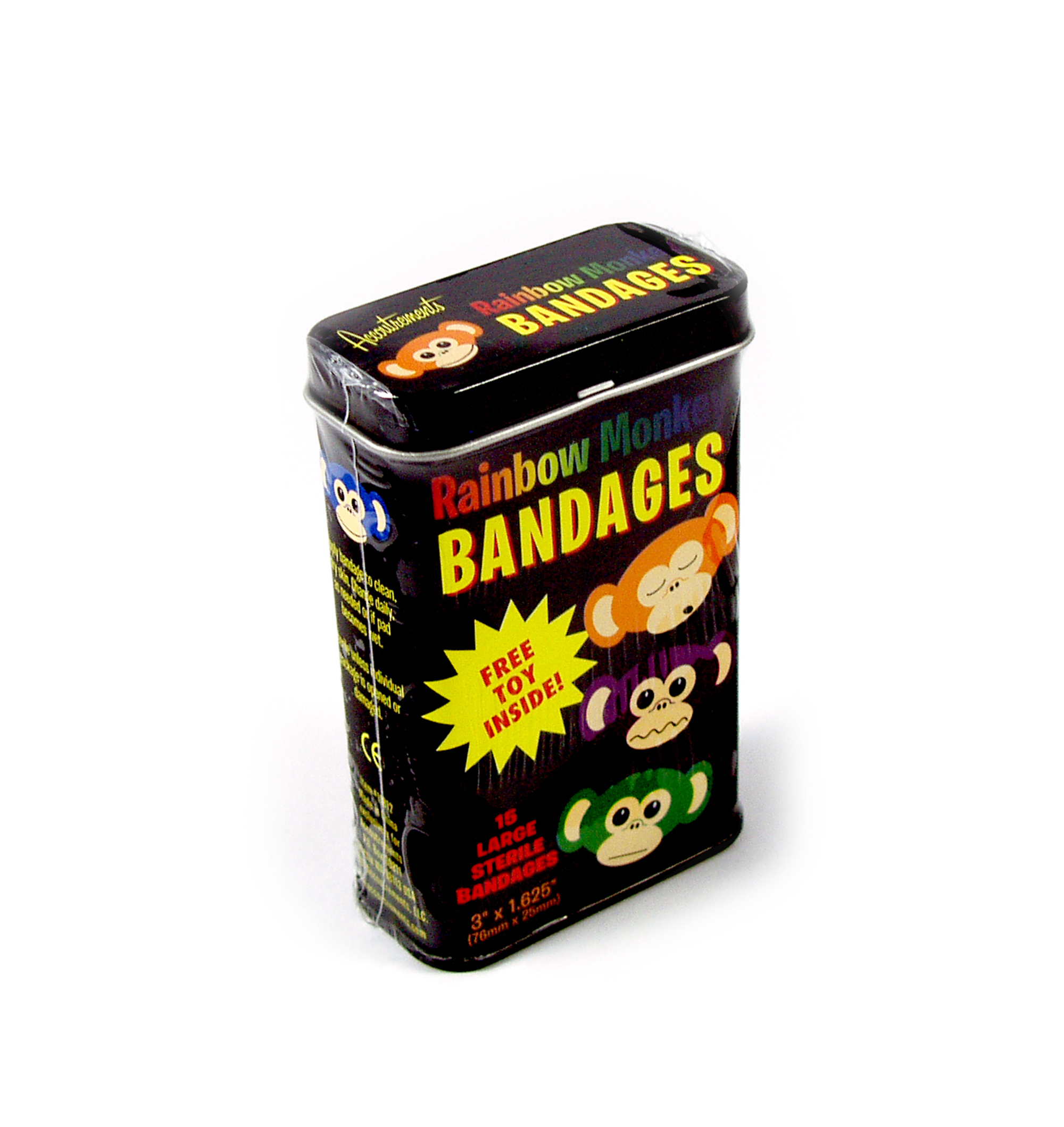 Rainbow monkey - first aid in a tin - plasters / band aids