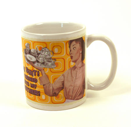 Oh Shit! I Turned In To My Mother Retro Mug (Orange Spiral Design)