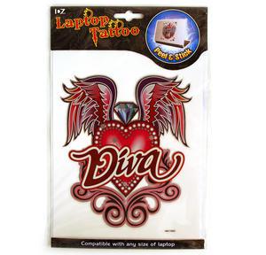 Laptop Notebook Tattoo Sticker - Diva Winged Heart Thumbnail 3