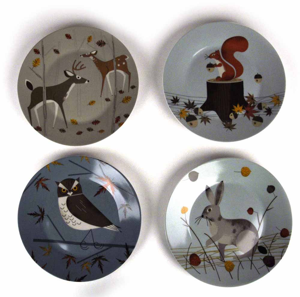 "Forest Friends Set of 4 Plates 7 5"" by Magpie 