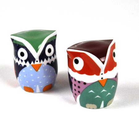 Owlets - Porcelain Salt And Pepper Owls