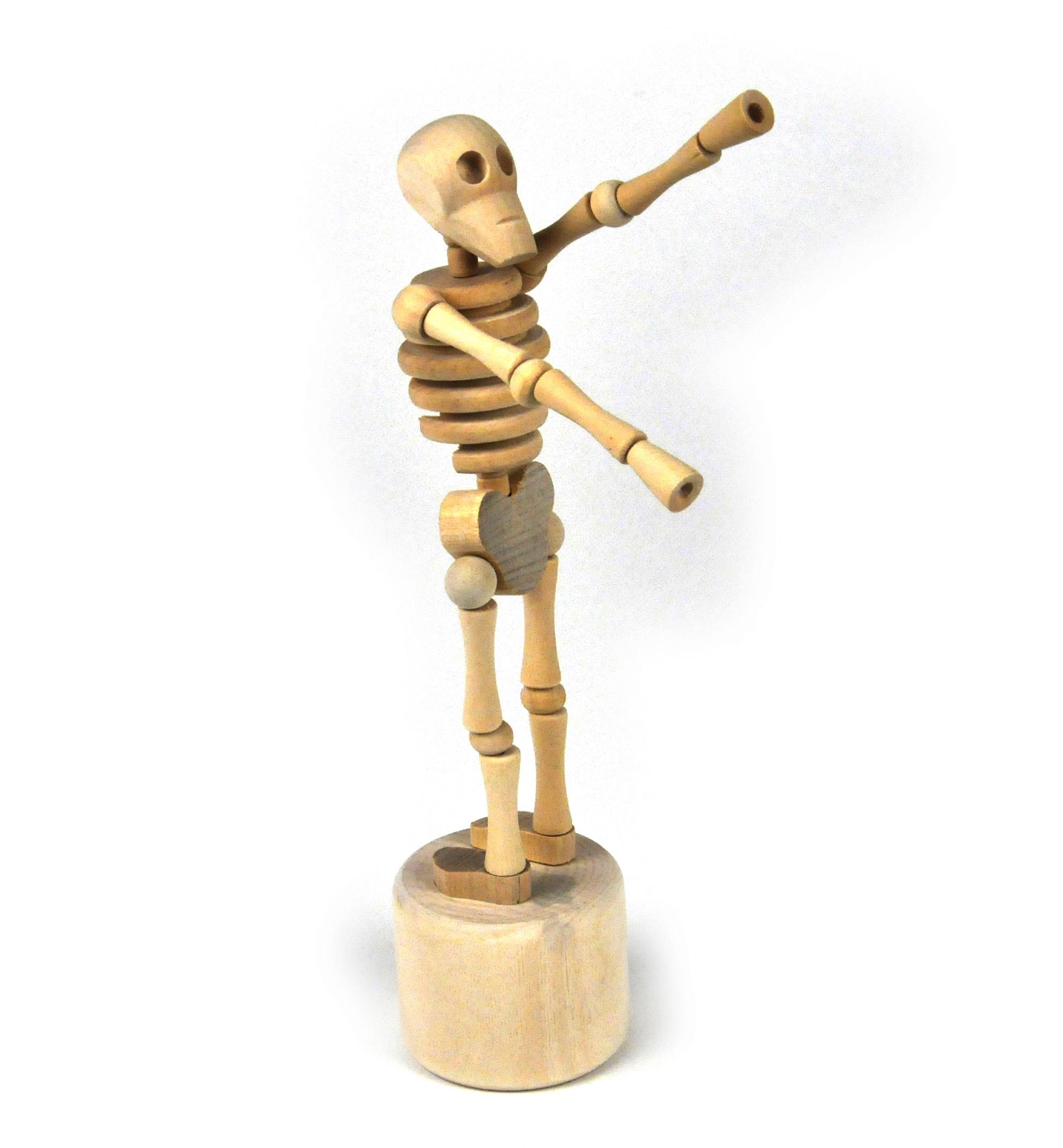 Lazy Bones Wooden Collapsing Skeleton Man String Puppet