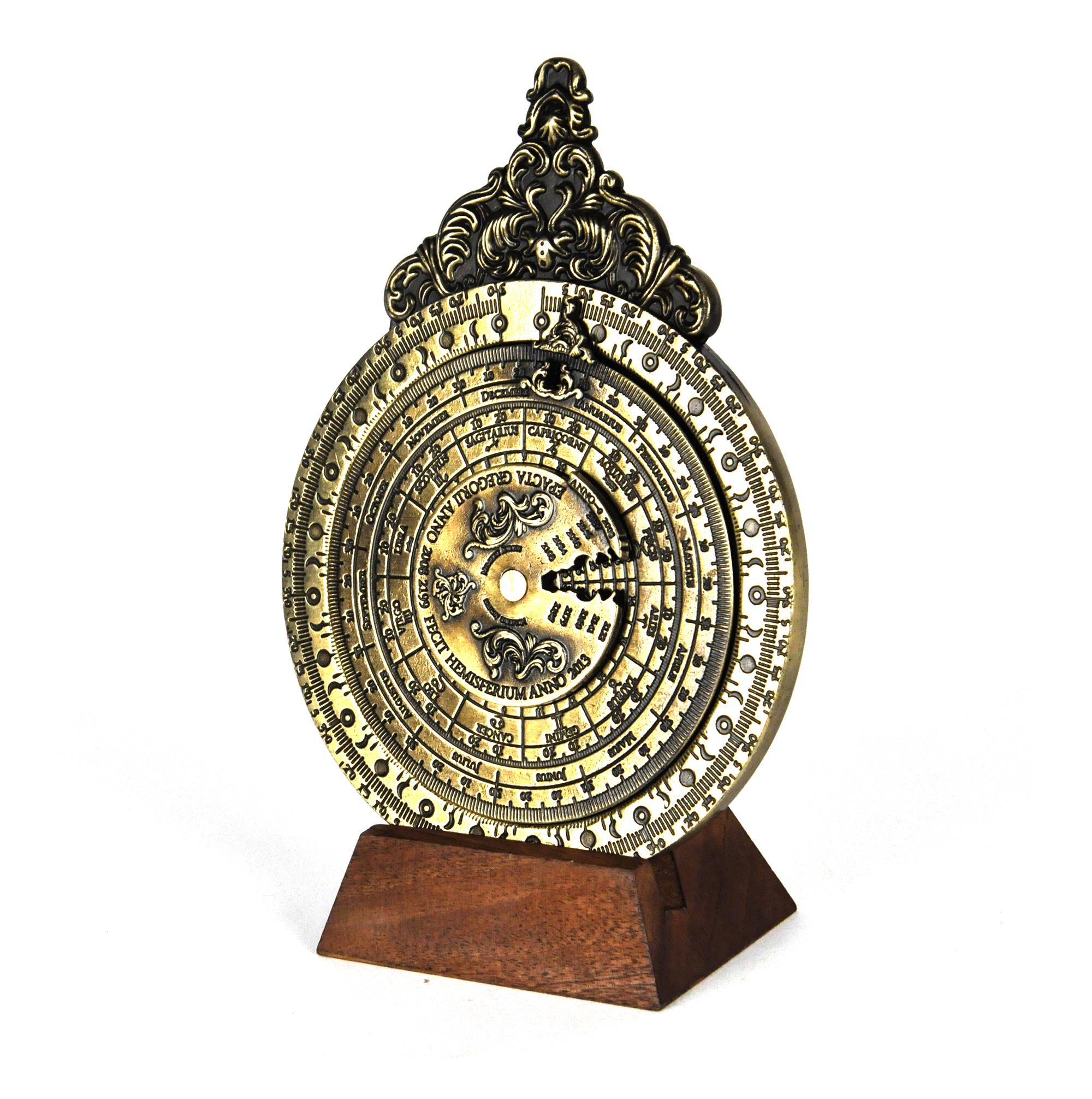 Antique Science Instruments : Lunar and tides calendar hemispherium replica antique