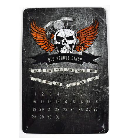 """Old School Biker Calendar Metal Plaque Sign - 20 x 30cm / 8"""" x 12 """""""