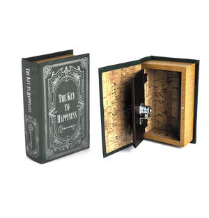 Hardback Book Secret Safe - 'The Key to Happiness' Disguised Money Box.