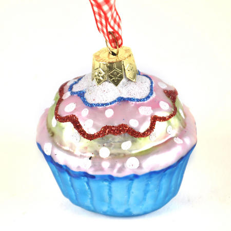 "Blue Cupcake with Icing - 6cm / 2"" Hanging Decoration"