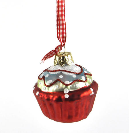 """Red Cupcake with Icing - 6cm / 2"""" Hanging Decoration"""