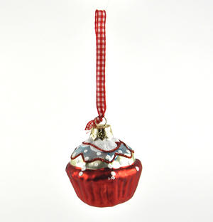 "Red Cupcake with Icing - 6cm / 2"" Hanging Decoration Thumbnail 2"