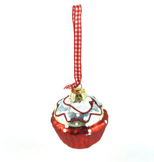 "Red Cupcake with Icing - 6cm / 2"" Hanging Decoration Thumbnail 3"
