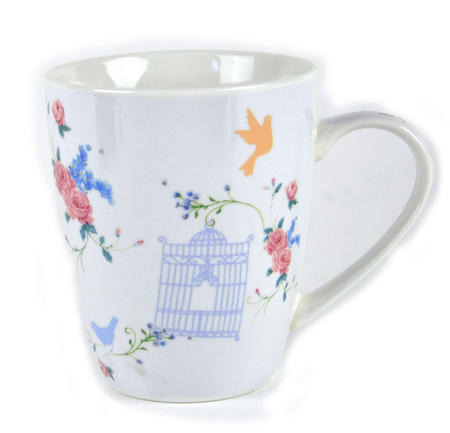 Bird and Cage Bone China Mug by Jan Pashley