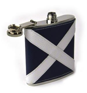 Scotland Flag Deluxe Leather Scottish Hip Flask Thumbnail 3