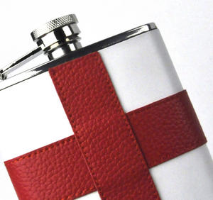 England Flag Deluxe Leather English St. George's Hip Flask Thumbnail 2