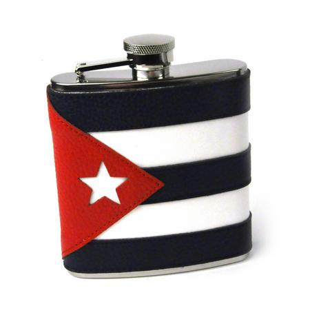 Cuban Flag Deluxe Leather Cuba Hip Flask