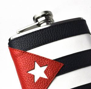 Cuban Flag Deluxe Leather Cuba Hip Flask Thumbnail 2