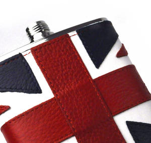British Flag Deluxe Leather Britain Hip Flask Thumbnail 2