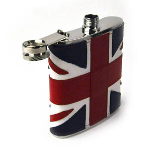 British Flag Deluxe Leather Britain Hip Flask Thumbnail 3