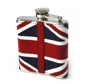 British Flag Deluxe Leather Britain Hip Flask Thumbnail 4