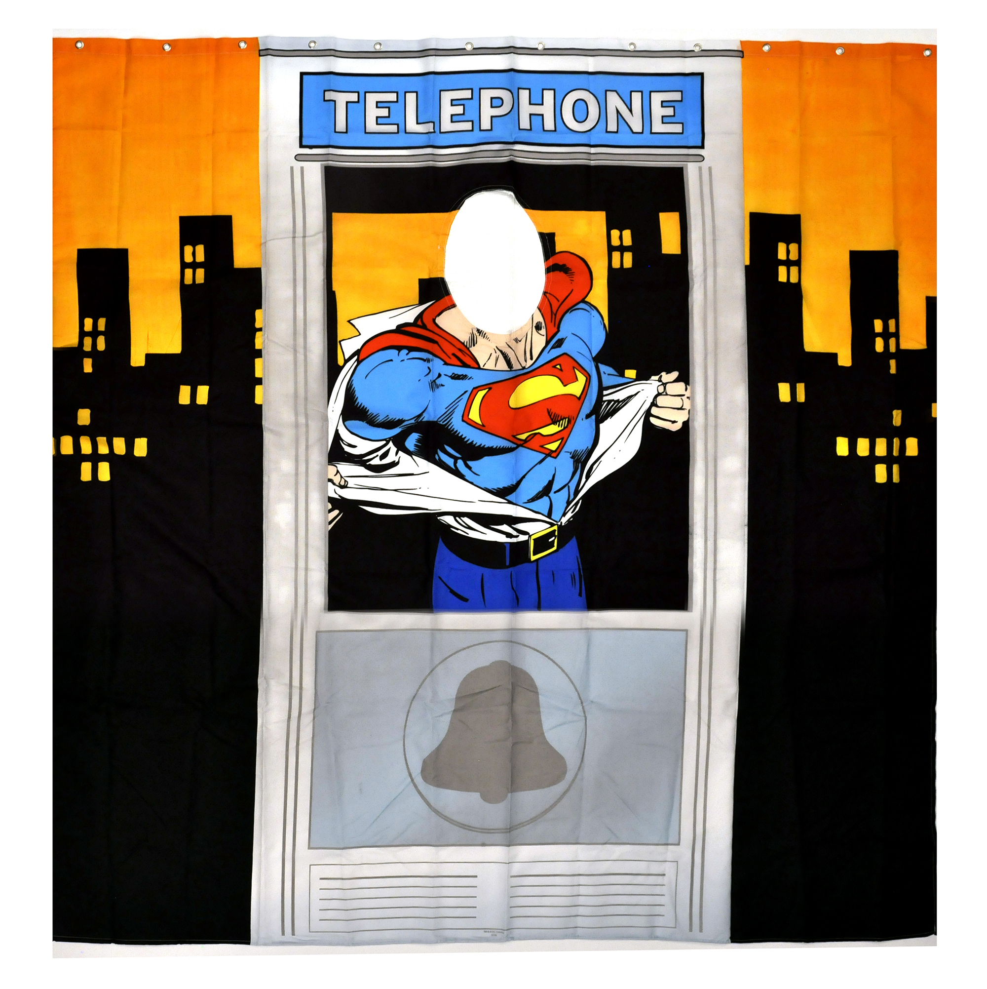 superman telefon box duschvorhang mit sichtfenster ebay. Black Bedroom Furniture Sets. Home Design Ideas