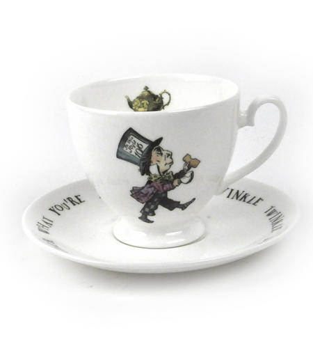 Alice In Wonderland Fine Porcelain Mad Hatter Tea Cup and Saucer - 'Mustard? Don't Let's Be Silly'