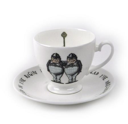 Alice In Wonderland Fine Porcelain Tweedledee and Tweedledum Tea Cup and Saucer - 'If it were, so it might be'