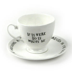 Alice In Wonderland Fine Porcelain Tweedledee and Tweedledum Tea Cup and Saucer - 'If it were, so it might be' Thumbnail 3