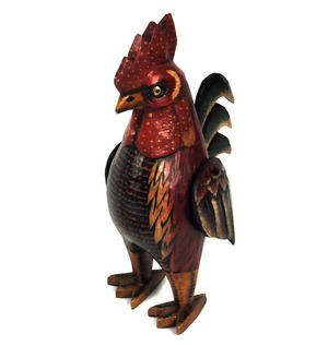Standing Red Rooster - 32cm Distressed Vintage Effect Wooden Folk Art Chicken Cockerel