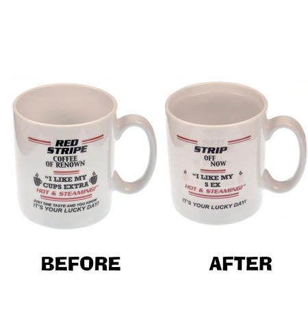 Red Stripe Coffee > Strip Off Now - Disappearing Letters Heat Change Mug