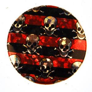 Red Stripe Skull Badge