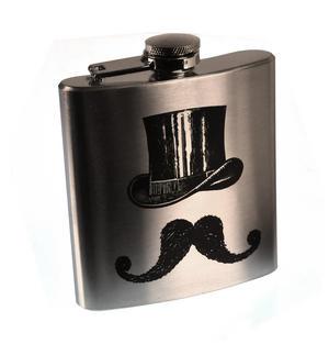 Victorian Moustache Hip Flask Thumbnail 1